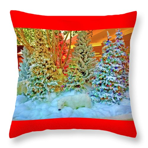 Digital Art Throw Pillow featuring the digital art A Polar Bear Christmas 2 by Marian Bell