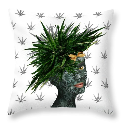 Marijuana Art Throw Pillow featuring the digital art A Portrait Of Many Jane by Nola Lee Kelsey