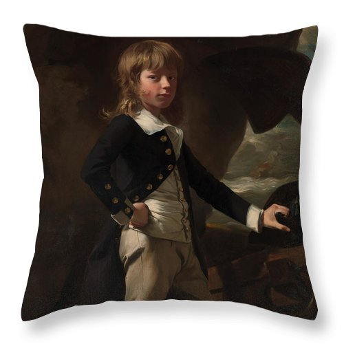 A Portrait Of Midshipman Augustus Brine Throw Pillow featuring the painting A Portrait Of Midshipman Augustus Brine by Celestial Images