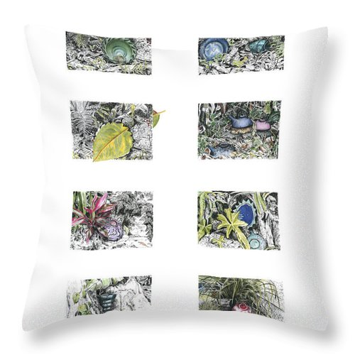 Tropical Throw Pillow featuring the drawing A Potters Garden by Kerryn Madsen-Pietsch