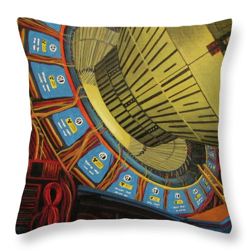 Collider Detector Fermilab Throw Pillow featuring the painting A Profusion Of Primaries by Beth Waltz