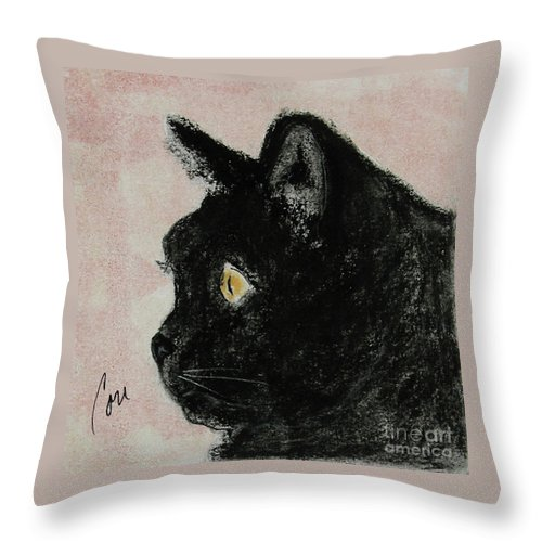 Pastels Throw Pillow featuring the mixed media A Purrfect Vision by Cori Solomon