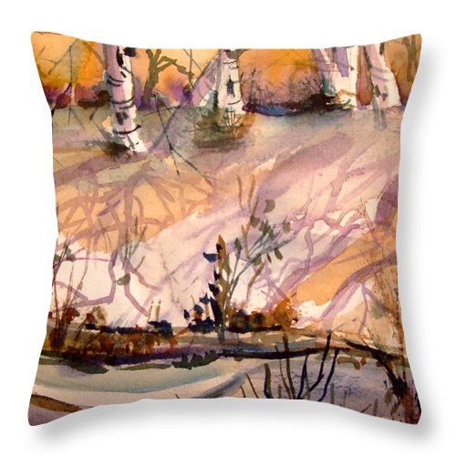 Snow Throw Pillow featuring the painting A Quiet Light by Mindy Newman