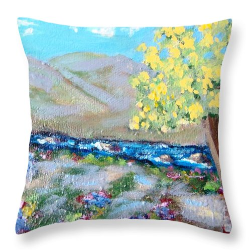 Landscapes Throw Pillow featuring the painting A Quiet Place by Laurie Morgan
