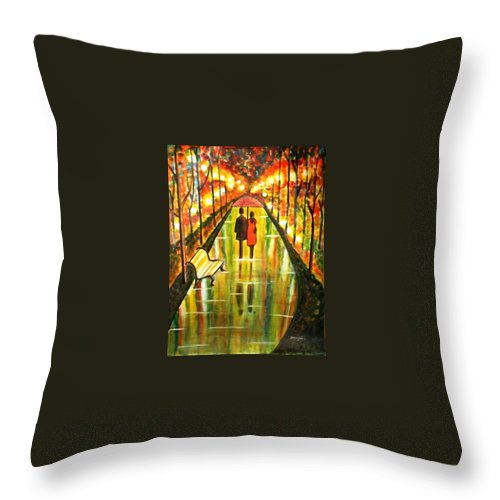 Romantic Painting Art Colorful Rainy Umbrella Bench Road Throw Pillow featuring the painting A Rainy Day III by Manjiri Kanvinde