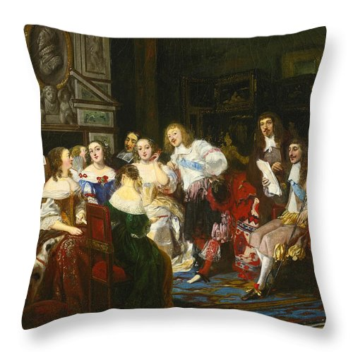 Joseph-nicolas Robert-fleury Throw Pillow featuring the painting A Reading By Madame De Sevigne by Joseph-Nicolas Robert-Fleury