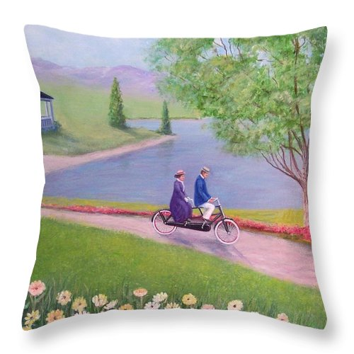 Landscape Throw Pillow featuring the painting A Ride In The Park by William H RaVell III
