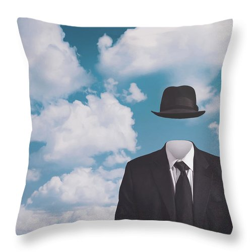 Rene Magritte Throw Pillow featuring the photograph A Riff On Magrittes The Pilgrim by Scott Norris