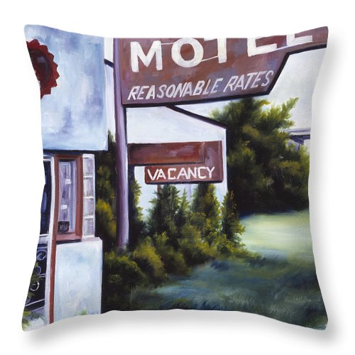 Motel; Route 66; Desert; Abandoned; Delapidated; Lost; Highway; Route 66; Road; Vacancy; Run-down; Building; Old Signage; Nastalgia; Vintage; James Christopher Hill; Jameshillgallery.com; Foliage; Sky; Realism; Oils Throw Pillow featuring the painting A Road Less Traveled by James Christopher Hill