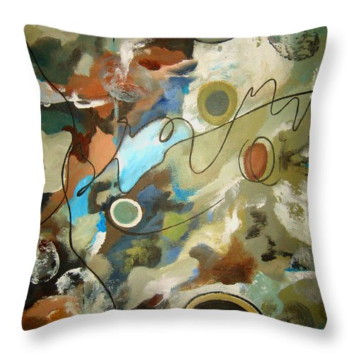 Abstract Throw Pillow featuring the painting A Rolling Stone Gathers No Moss by Ruth Palmer