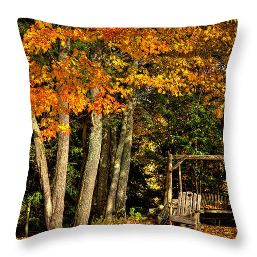 The Adirondacks Throw Pillow featuring the photograph A Romantic Autumn Spot In Inlet by David Patterson