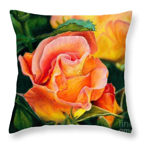 Coloured Pencil Throw Pillow featuring the painting A Rose For Nan by Amanda Jensen