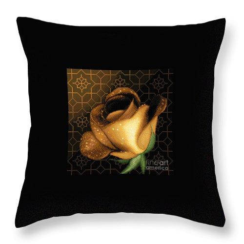 Rose Flower Needlework Cross Stitch Gobelin Yellow Throw Pillow featuring the tapestry - textile A Rose For You by Stoyanka Ivanova