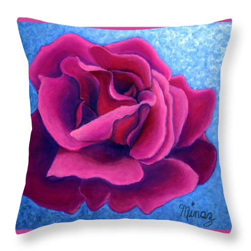 Rose. Pink Rose Throw Pillow featuring the painting A Rose Is A Rose.. by Minaz Jantz