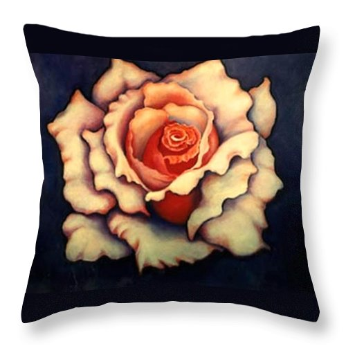 Flower Throw Pillow featuring the painting A Rose by Jordana Sands