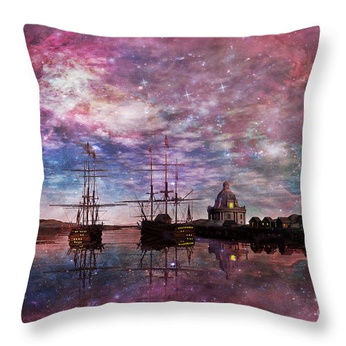 Anchor Throw Pillow featuring the digital art A Safe Anchorage by John Edwards
