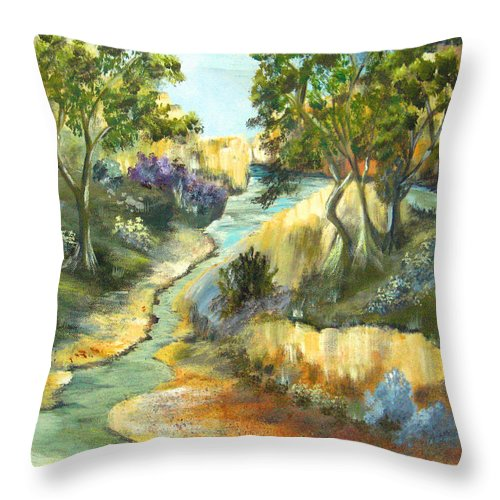 Landscape Throw Pillow featuring the painting A Sandy Place To Rest by Ruth Palmer