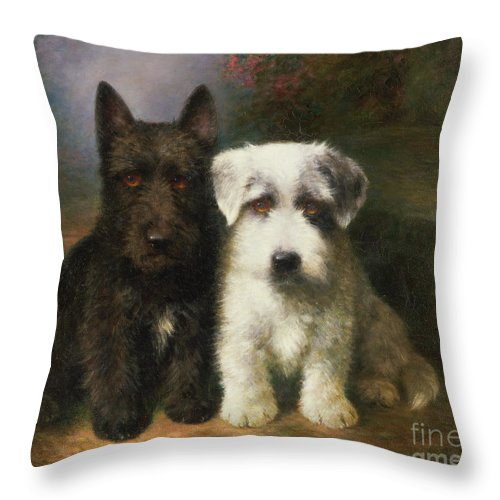 Dogs Throw Pillow featuring the painting A Scottish And A Sealyham Terrier by Lilian Cheviot