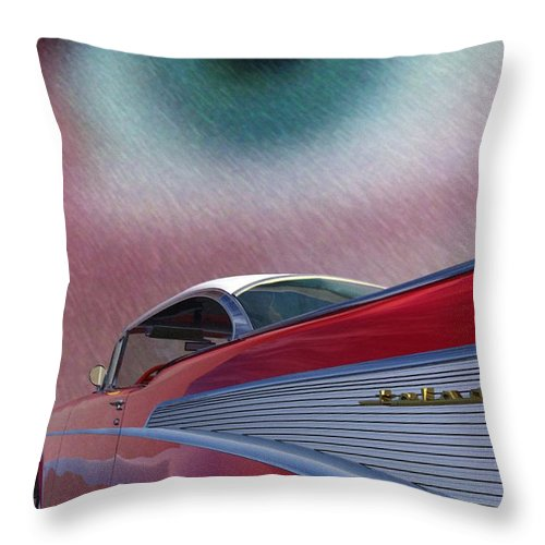 Classic Cars Throw Pillow featuring the digital art A Second Look by Richard Rizzo