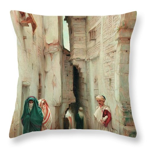 A Secret Admirer Throw Pillow featuring the painting A Secret Admirer by Guillaume Charles Brun