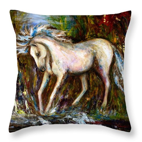 Horse Painting Throw Pillow featuring the painting A Secret Place White Hores Painting by Frances Gillotti
