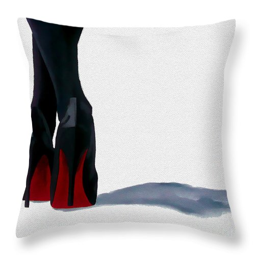 Fashion Throw Pillow featuring the painting A Shade Of Louboutin by My Inspiration