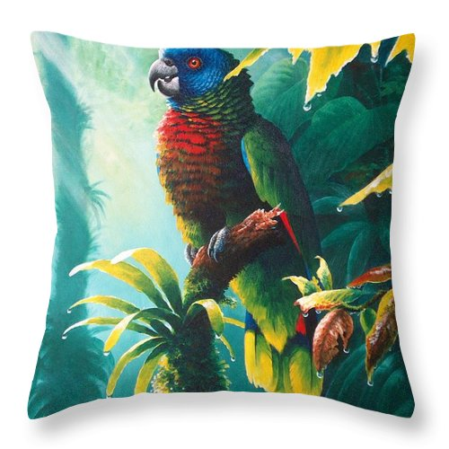 Chris Cox Throw Pillow featuring the painting A Shady Spot - St. Lucia Parrot by Christopher Cox