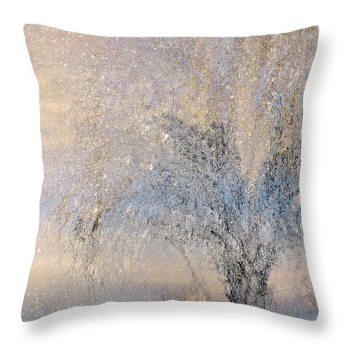 Winter Landscape Fantasy Throw Pillow featuring the digital art A Shimmering Light by Linda Murphy