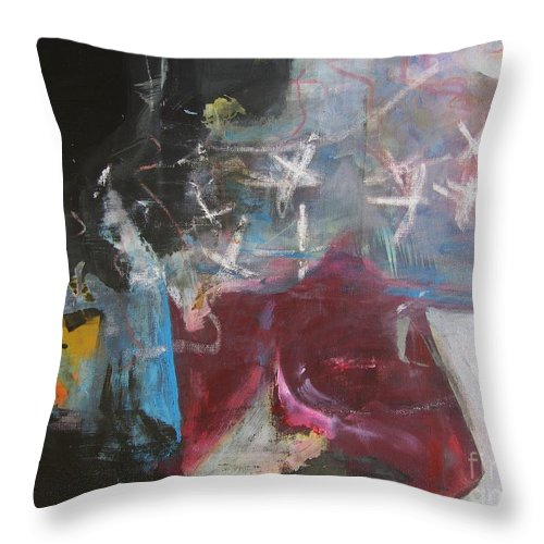 Abstract Paintings Throw Pillow featuring the painting A Short Story by Seon-Jeong Kim
