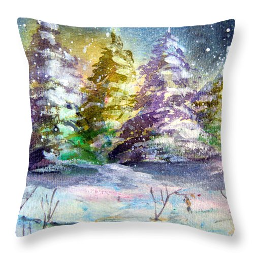 Christmas Throw Pillow featuring the painting A Silent Night by Mindy Newman