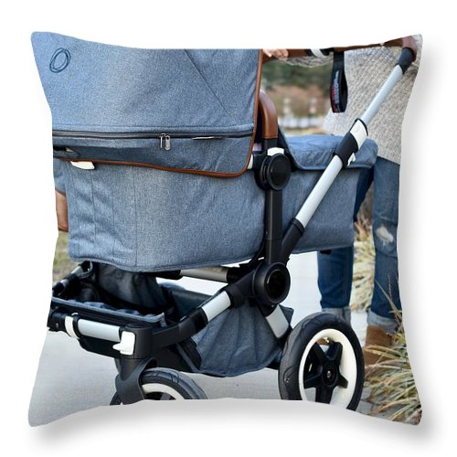 Mother And Stroller Throw Pillow featuring the photograph A Simple Walk by Jeramey Lende