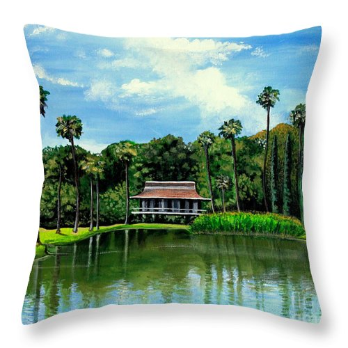 Landscape Throw Pillow featuring the painting A Slice Of Paradise by Elizabeth Robinette Tyndall
