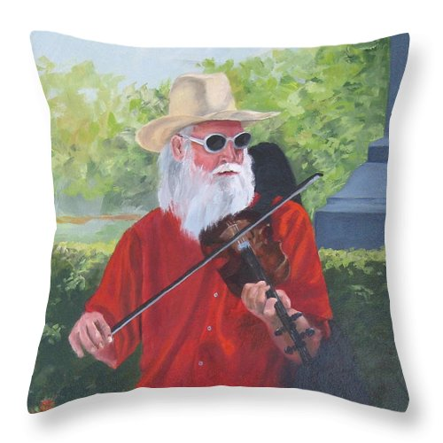 Slim Throw Pillow featuring the painting A Slim Fiddler For Peace by Connie Schaertl