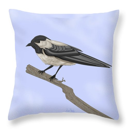 Bird Throw Pillow featuring the painting A Small Guest by Anne Norskog