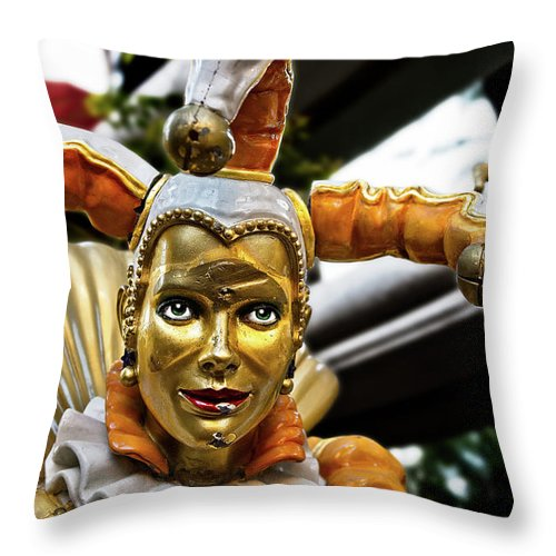 Statue Throw Pillow featuring the photograph A Smile Behind The Scars by Christopher Holmes
