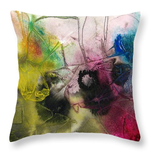Abstract Throw Pillow featuring the painting A Splash Of Color by Vic Delnore