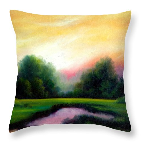 Clouds Throw Pillow featuring the painting A Spring Evening by James Christopher Hill