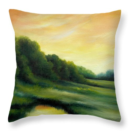Clouds Throw Pillow featuring the painting A Spring Evening Part Two by James Christopher Hill