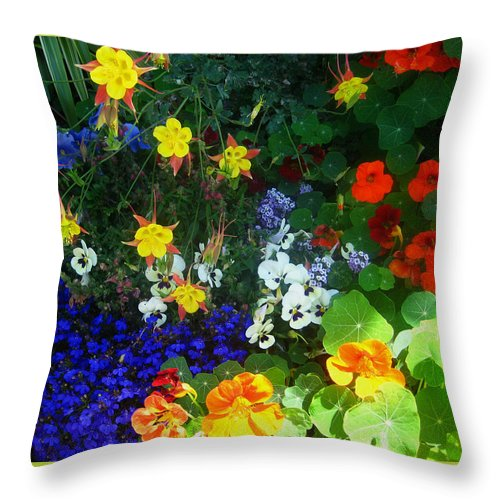 Flowers Throw Pillow featuring the photograph A Spring Garden Medley by Andrea Freeman