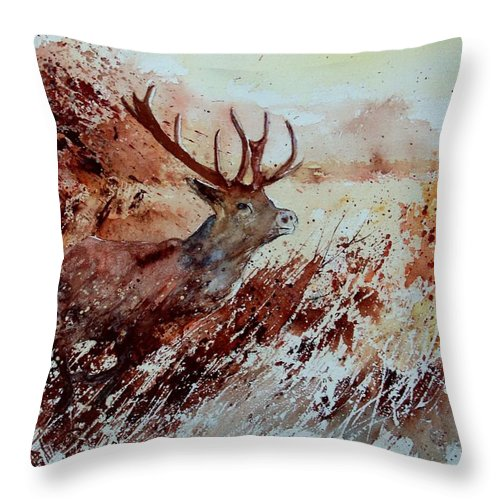 Animal Throw Pillow featuring the painting A Stag by Pol Ledent