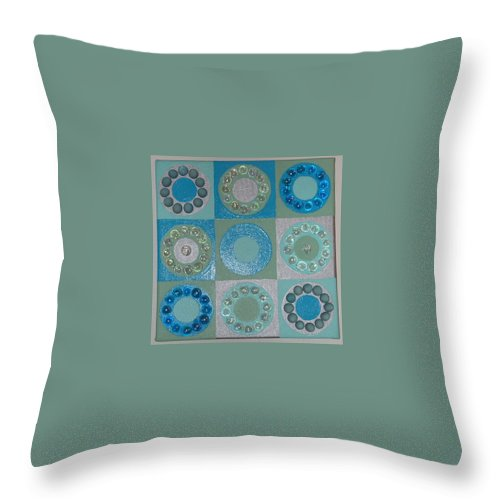 Circles Throw Pillow featuring the painting A Stone's Throw by Gay Dallek