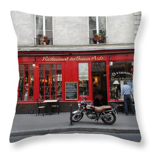 Red Throw Pillow featuring the photograph A Stop Along The Journey by Tom Reynen
