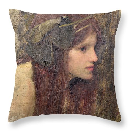 Naiad Throw Pillow featuring the painting A Study For A Naiad by John William Waterhouse