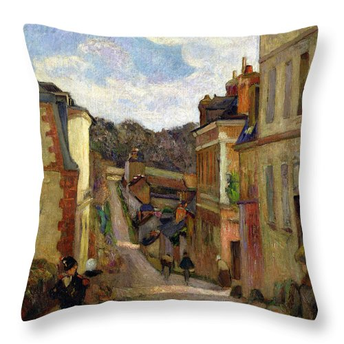 A Suburban Street Throw Pillow featuring the painting A Suburban Street by Paul Gauguin