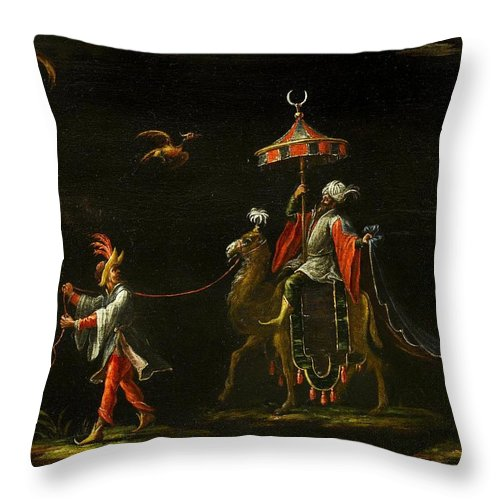 Follower Of Jacques Callot (nancy 1592 - Nancy 1635) Throw Pillow featuring the painting A Sultan Riding A Camel Led By A Driver by Jacques Callot