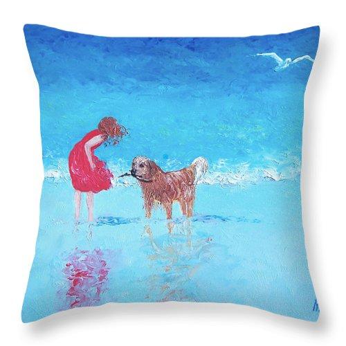 Beach Throw Pillow featuring the painting A Summer Breeze by Jan Matson