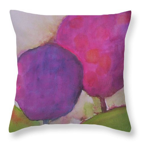 Abstract Landscape Throw Pillow featuring the painting A Summer Day by Vesna Antic