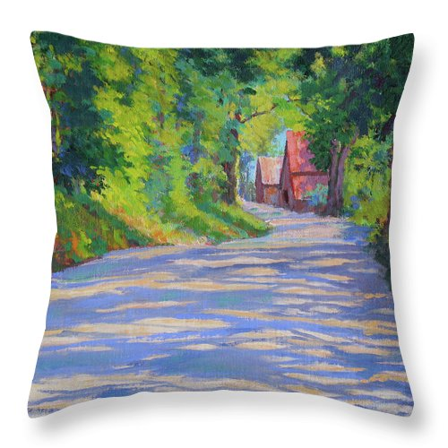 Landscape Throw Pillow featuring the painting A Summer Road by Keith Burgess