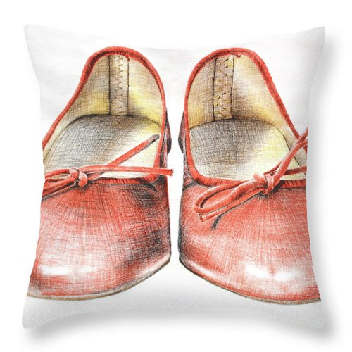 Shoes Throw Pillow featuring the drawing A Sunday Walk by Katharina Filus
