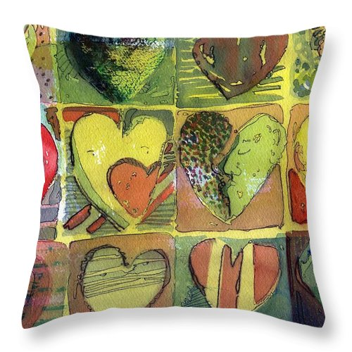 Valentine Throw Pillow featuring the painting A Sunny Valentine by Mindy Newman